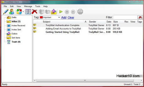 TrulyMail interface secure email client