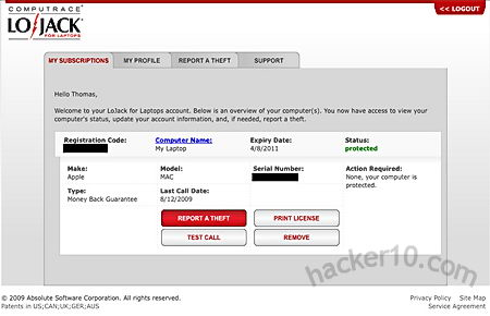LoJack antitheft laptop software