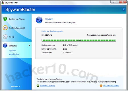 SpywareBlaster malware scan
