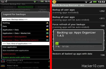 Titanium Android backup app