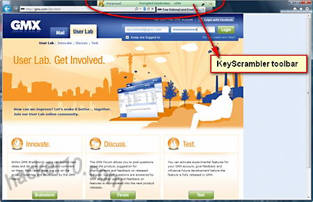 KeyScrambler toolbar