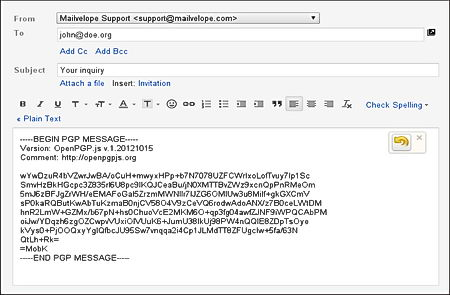 MailVelope encrypted message