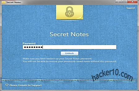 Password protect notes with Secret Notes