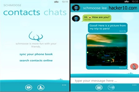 Schmoose encrypted messaging app