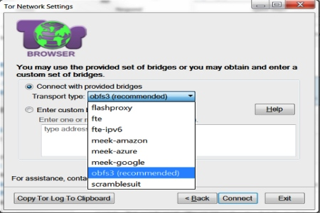 Tor network bridge configuration