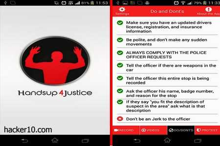 Handsup4Justice mobile phone police recording